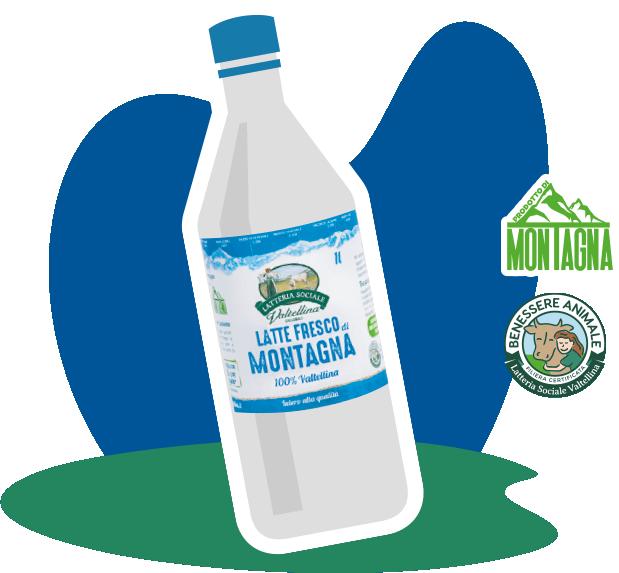 La nuova bottiglia del latte in RPET50 di Latteria Valtellina